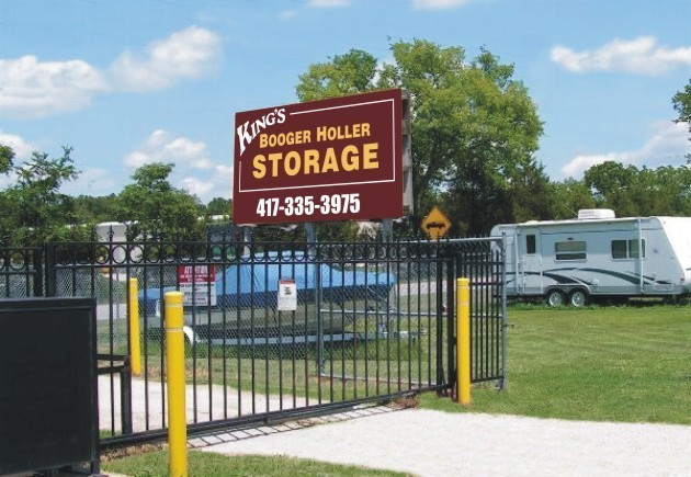 view of gated entry to storage facility
